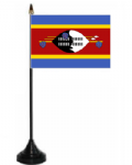 Swaziland Desk / Table Flag with plastic stand and base.